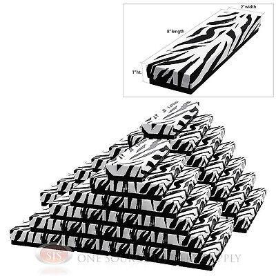 "50 Zebra Print Cotton Filled Jewelry Gift Boxes  8"" X 2"" Pendant Bracelet Watch"