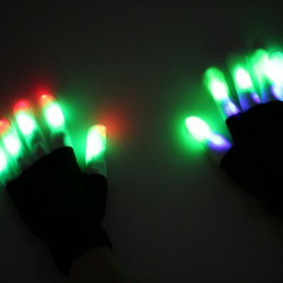 Cool LED Rave Flashing Gloves Glow 6 Mode Light Up Finger Lighting fr Xmas Party