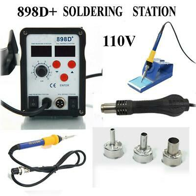 898d 2-in-1 Electric Smd Desolder Soldering Station Hot Air Gun W 11 Tips