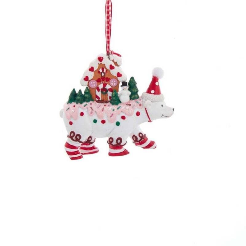 Kurt Adler Polar Bear Christmas Ornament Candy Gingerbread House H5598