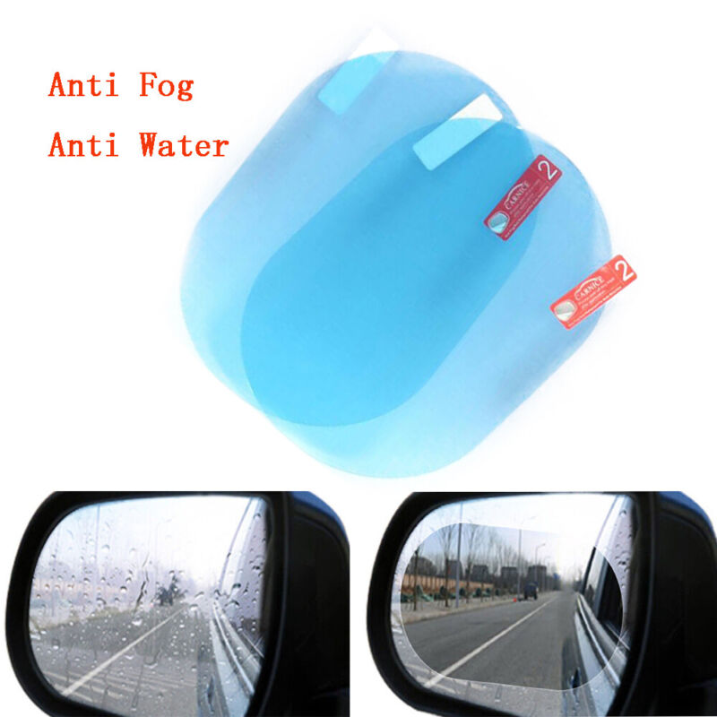 2Pcs 10*14.5cm Oval Blue Car Anti Fog Rainproof Rearview Mirror Protective Film