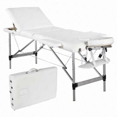 """73"""" Portable Tattoo Parlor Spa Salon Facial Bed Beauty Massage Table Chair White"""