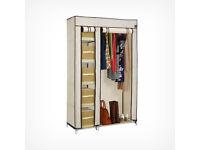 VonHaus canvas effect double wardrobe with five shelves
