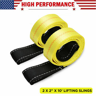 2 Pack 10ft X 2in Lifting Sling Straps With Heavy Duty Flat Loops 10000lbs Nylon