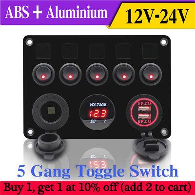 Gang Fuse Panel - Inline Fuse Box LED 5 Gang Rocker Switch Panel 2 USB Charger Socket Boat Marine