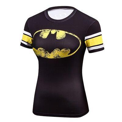 Batman Fitness  T-shirt Superhero yoga wear  Short Sleeve women's Fitness