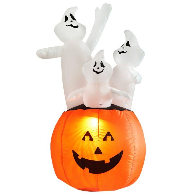 Homegear Halloween Decoration 4 Feet Inflatable Pumpkin/Ghost Combo w/ LED Light