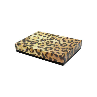 5-38 X 3-78 X 1 Jewelry Gift Boxes Cotton Filled Leopard Print Set 10 Pc