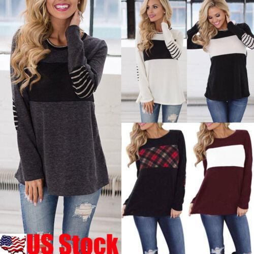 Women's Long Sleeve Pullover Hoodie Casual Stripe T-Shirt Sw
