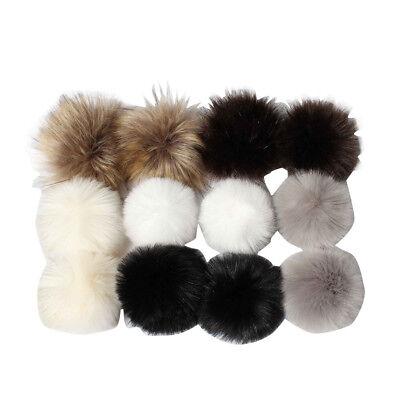 DIY 12Pcs Cute Faux Fox Fur Fluffy Pompom Ball For Knitting Hat Hats US STOCK