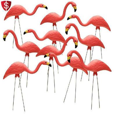 Pink Flamingo Yard Ornaments Garden Decoration Bird Outdoor Lawn Plastic 10 pcs