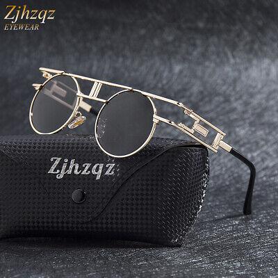 Vintage Polarized Steampunk Sunglasses Fashion Retro Round Pilot Punk Sunglasses