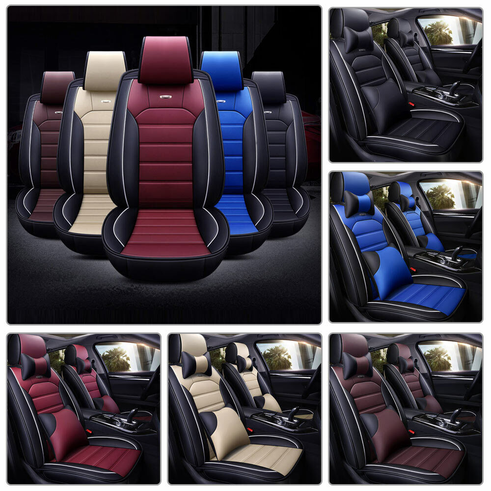 Us Pu Leather Car Seat Cover Protector Cushion Full Set 5 Seats Universal Deluxe Ebay
