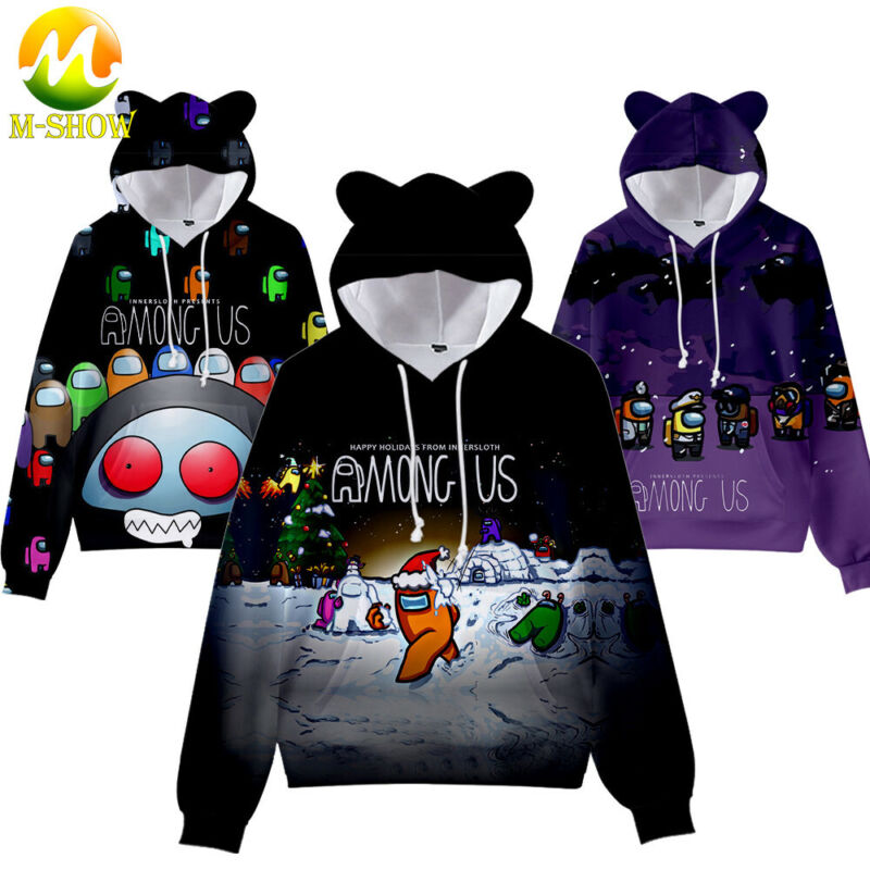 Children Hoodie Sweatshirt Among Us Impostor Cute Cat Ears 3D Cartoon Pullover
