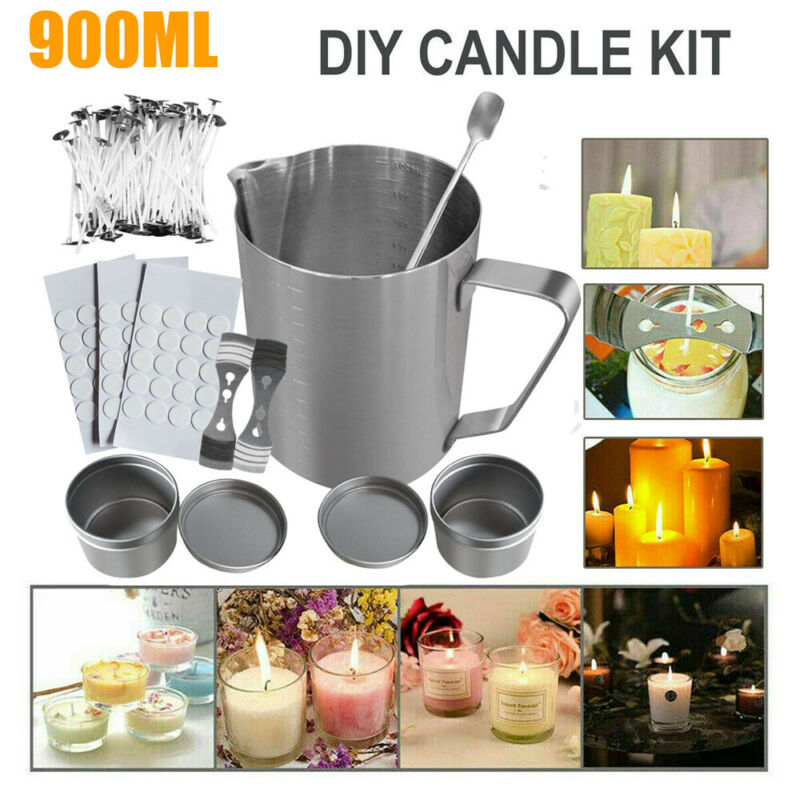 116PCS CANDLE MAKING KIT POURING POT WICKS WAX GIFT, LARGE MELTING CUP 900ML