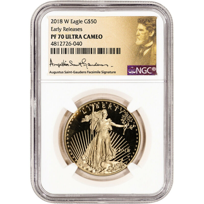 2018 W American Gold Eagle Proof 1 oz $50 NGC PF70 UCAM Early Release St Gaudens