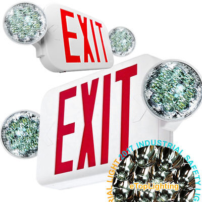 New Led Exit Sign Emergency Light High Output - Red Compact Combo Ul Combo