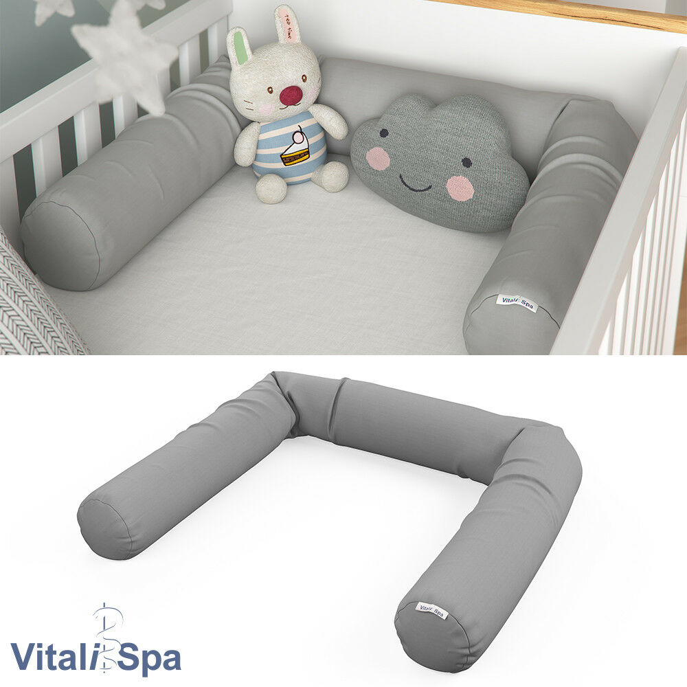 VitaliSpa Bettschlange Baby Nestchen grau Nackenrolle Kissen 180 cm