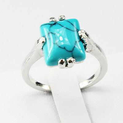 Turquoise Gemstone Fashion  Jewelry 925 Silver Men Women Ring Size 6
