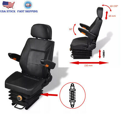 Tractor Seat With Suspension Adjustable Armrest Waterproof Steelpvc Lawn Mower