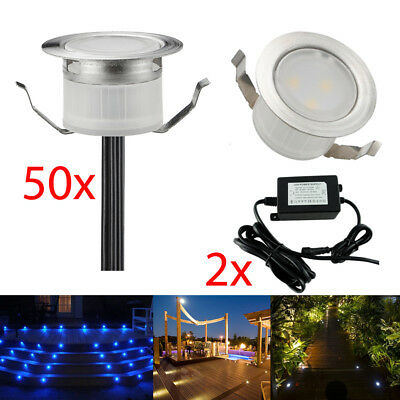 50x 31mm LED Deck Light Waterproof Stari Yard Garden Landscape Path Outdoor Lamp