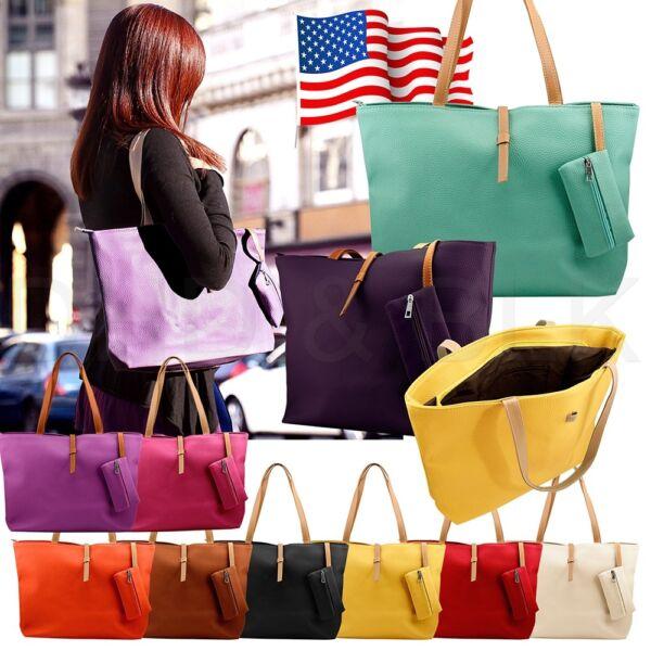 New Womens Faux Leather Fashion Messenger Handbag Lady Shoulder Bag Totes Purse 1