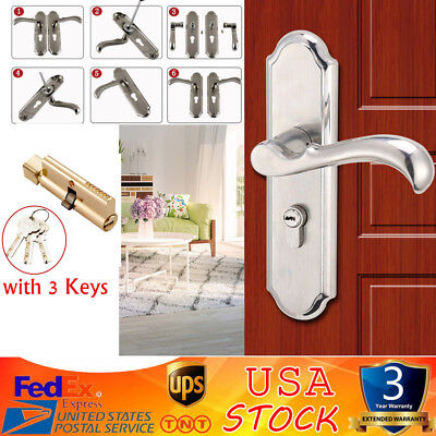 Stainless Steel Privacy Door Security Entry Lever Mortise Handle Locks Full Set ()