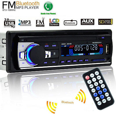 Bluetooth Car Stereo Audio Receiver SD USB MP3 WMA Player Radio FM Aux In No CD