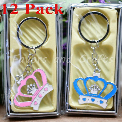 12 Crown Keychains Baby Shower Princess Party Favors Quinceanera Recuerdos (Shower Party)