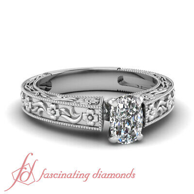 1/2 Carat Cushion Cut VS1 Diamond Solitaire Milgrain Design Engagement Ring GIA