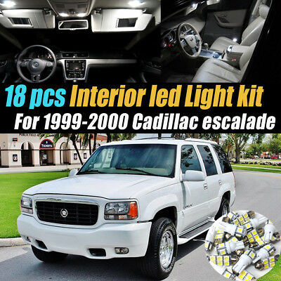 18Pc Super White Car Interior LED Light Bulb Kit for 1999-2000 Cadillac Escalade
