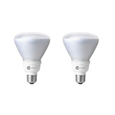 - EcoSmart 65-Watt Equivalent BR30 Non-Dimmable CFL Light Bulb Soft White (2-Pack)