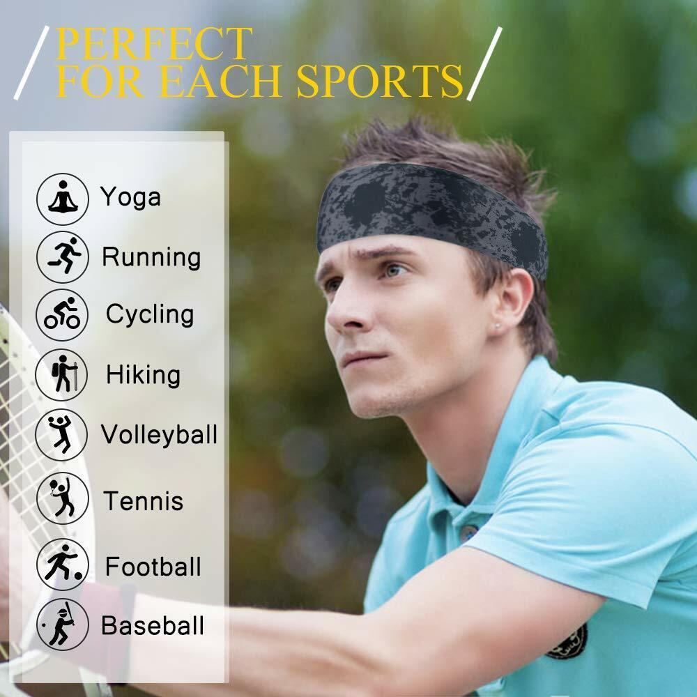 Women Men Moisture Wicking Workout Sweat Bands Elastic Wide Sport Headbands US Clothing, Shoes & Accessories