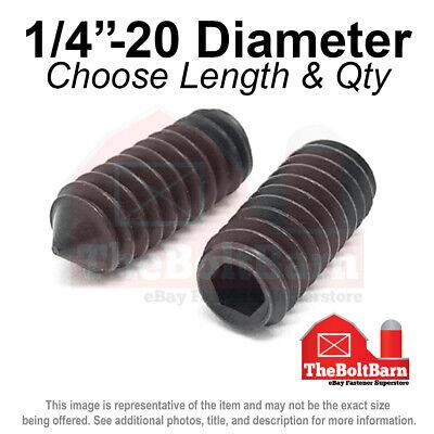 14-20 Alloy Cone Point Allen Socket Set Screw Coarse Black Oxide Pick Size