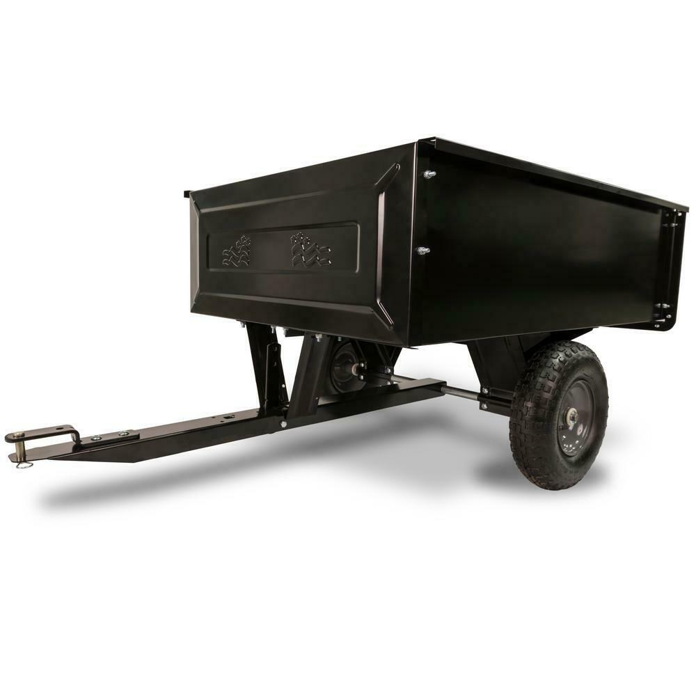 Steel Dump Cart Garden Yard Lawn Mower Tractor Trailer Wheel