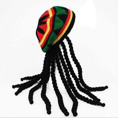 Rasta Wig Hat ( Dreadlocks Wig Hat Reggae Jamaican Style Rasta Hat Crocheted Knitted Beret)