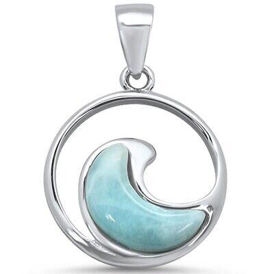 - Natural Larimar Ocean Wave .925 Sterling Silver Charm Pendant