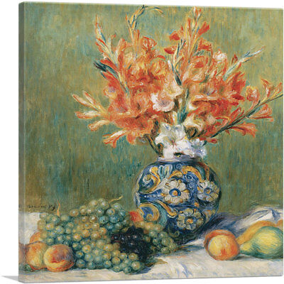 Pierre Auguste Renoir Still Life (Still Life Flowers and Fruit 1889 Canvas Art Print by Pierre-Auguste Renoir)