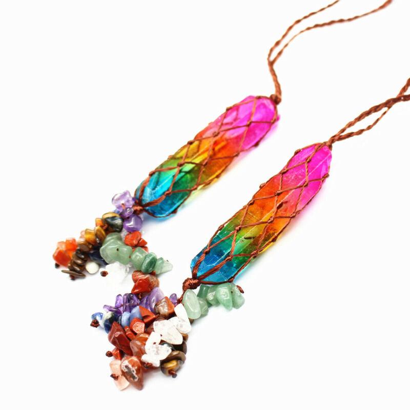 2pcs Natural Seven Chakras Crystal Column Pendant Charm Amulet Luck Jewellery