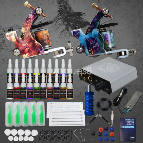 Купить Complete Tattoo Kit needles 2 Machine Gun Power Supply 20 Color Ink Tip D175VD