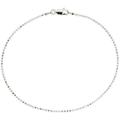 Ball Clasp Necklace - Sterling Silver Diamond Cut Bead Ball Chain Necklace or Bracelet w/LOBSTER CLASP