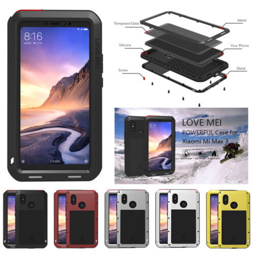low priced 1d36c 40f5a Details about For Xiaomi Mi 8 Max 3 LOVE MEI Aluminum Metal  Shock/Waterproof Case Hard Cover