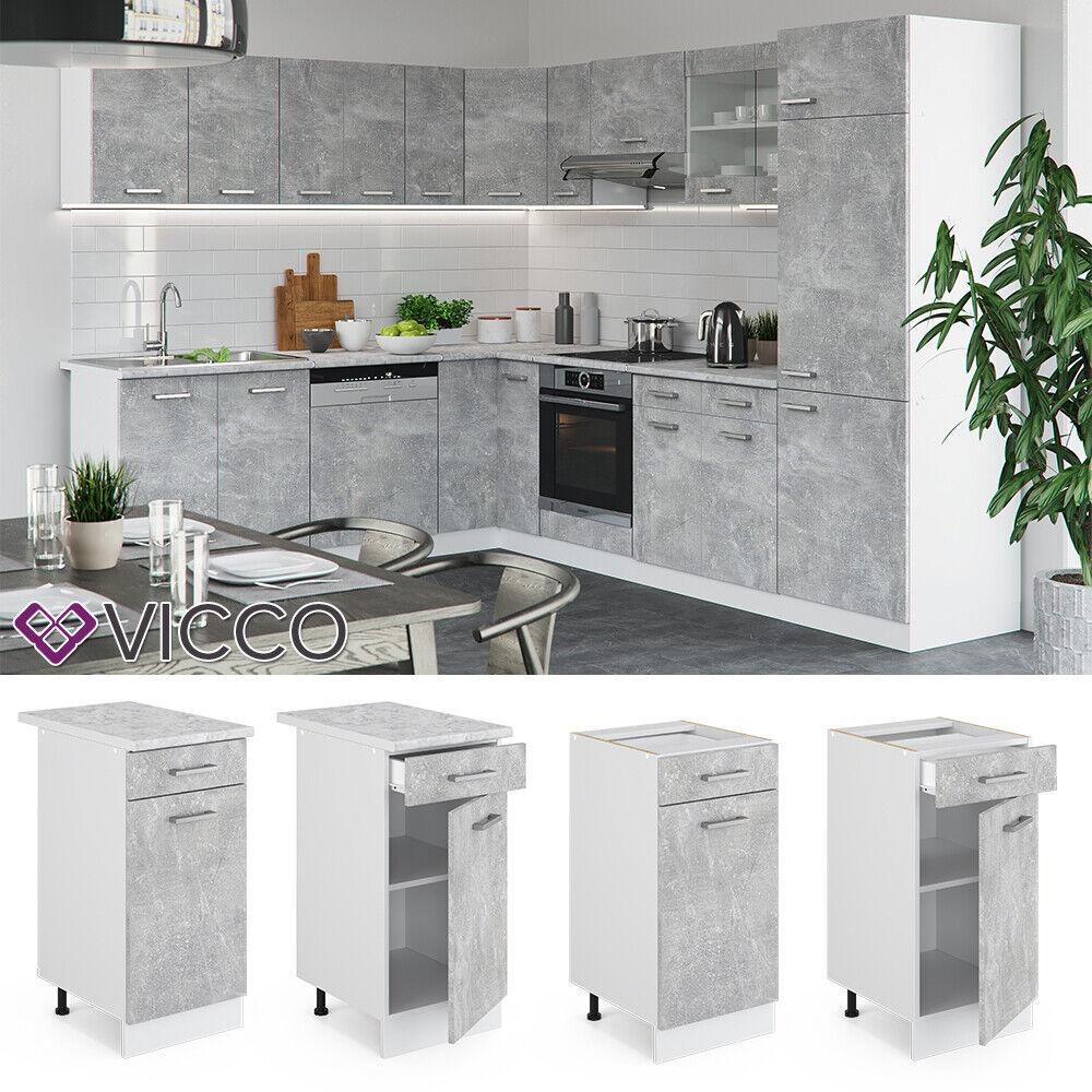 VICCO Küchenschrank Hängeschrank Unterschrank Küchenzeile R-Line Schubunterschrank 40 cm beton