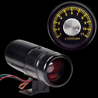 HS 1000 11000RPM Adjustable Red LED Tacho Gauge Tachometer Shift Light Black (Adjustable Shift)