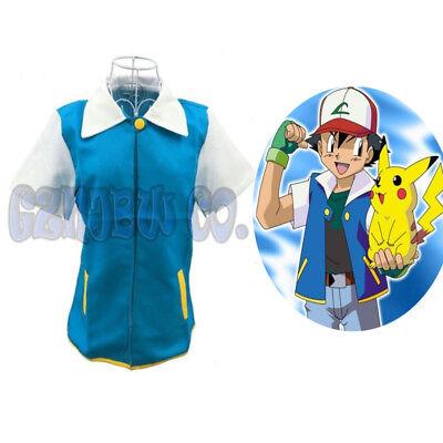 Unisex Pokemon Ash Ketchum Trainer Jacket Cosplay Costume Halloween Party Adult (Pokemon Ash Halloween Costumes)