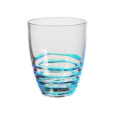 My Table Talk® Set of 4 - Acrylic Swirl Design 14 oz DOF Tumbler - Blue & Clear Acrylic Dof Set
