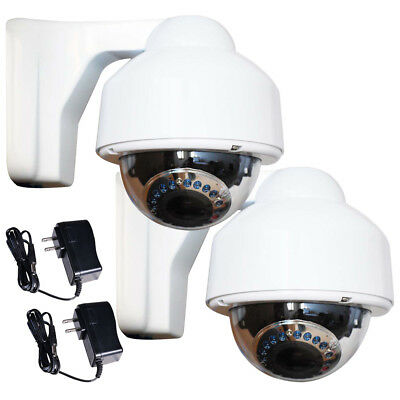 2 Security Cameras Outdoor IR Day Night Varifocal Zoom with Sony Effio CCD bor