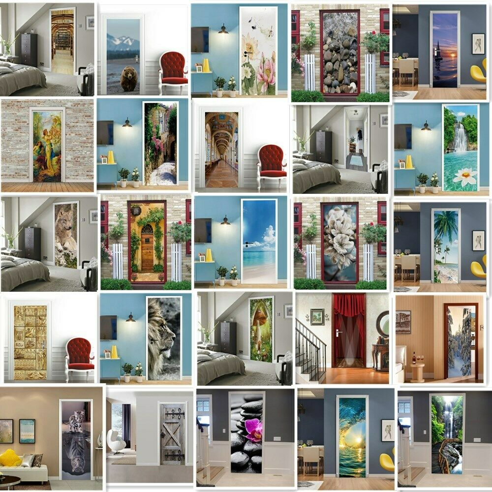 Home Decoration - 3D Door Wall Sticker HD Decals Self-adhesive Mural Scenery Fabric Home Decor PVC