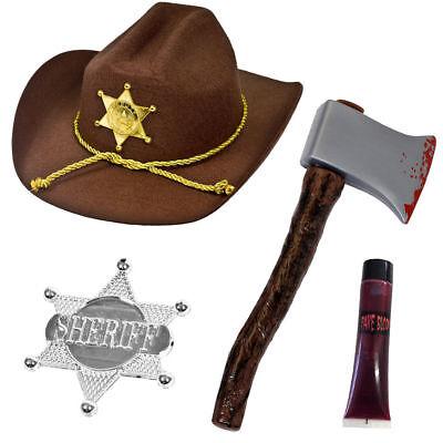 MENS SHERIFF ZOMBIE HUNTER SET HALLOWEEN KILLER FANCY DRESS COSTUME ACCESSORY