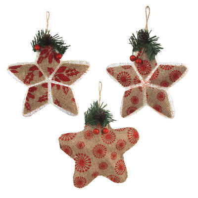 Stuffed Burlap Glittered Christmas Tree Ornaments, Natural/Red, 3-Piece](Glitter Christmas Ornaments)